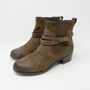 UGG Krewe Boots 10 Brown Leather Harness Moto Cozy